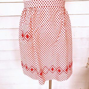 Vintage Apron Red And White Polka Dot embroidery